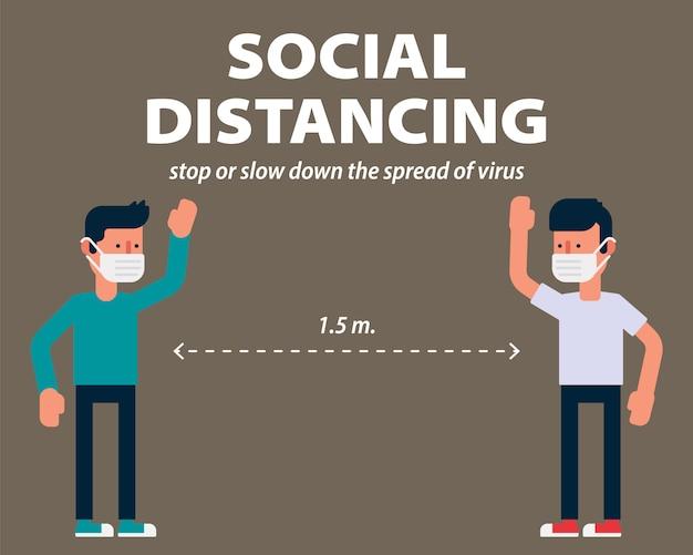 Distanciation sociale, salutation longue distance protégeant de covid-19, coronavirus illustration infographie design plat2019-ncov, éviter, bactéries, concept, contamination, corona, virus corona, cor