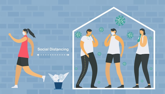 Distanciation sociale. vous devez rester à la maison et rencontrer un médecin lorsque vous êtes malade. sauvez la vie d'une nouvelle épidémie de coronavirus.