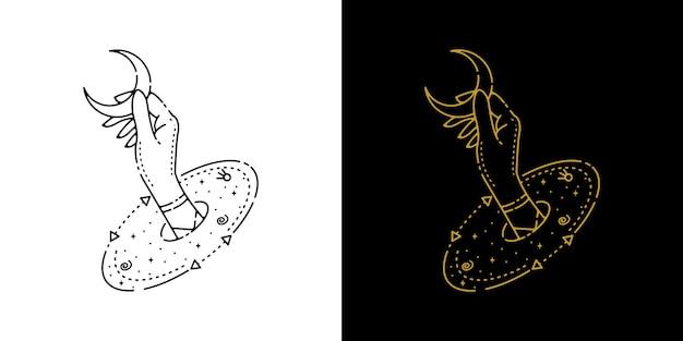 Distribuez du cercle et attrapez la conception de monoline de tatouage de lune