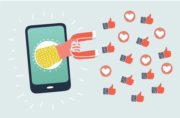 Distribuez à partir d'un smartphone tenant un aimant qui attire les symboles de promotion comme les cœurs