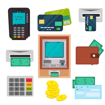 Distributeur automatique de billets atm vector icons set.