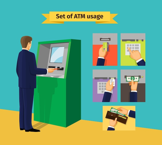 Distributeur de billets. paiements et recevoir de l'argent. illustration vectorielle