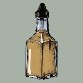 Distributeur d'huile d'olive dessiné à la main