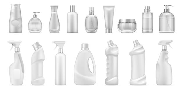 Distributeur réaliste. contenants cosmétiques et bouteilles de nettoyant vierges blanches, toilettes isolées 3d