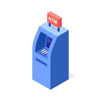 Distributeurs automatiques de billets, distributeur automatique de billets. illustration vectorielle isométrique.