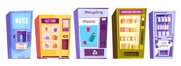 Distributeurs automatiques pour le recyclage du plastique, de l'eau, des collations de restauration rapide, des produits laitiers et de l'alimentation saine au détail. service du fournisseur, concept d'entreprise automatique. illustration de dessin animé, jeu d'icônes isolé