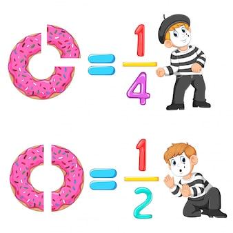 La distribution du beignet et du numéro de gelée avec la bonne pantomime