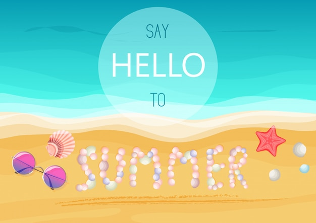 Dites bonjour au texte d'été. affiche d'été.
