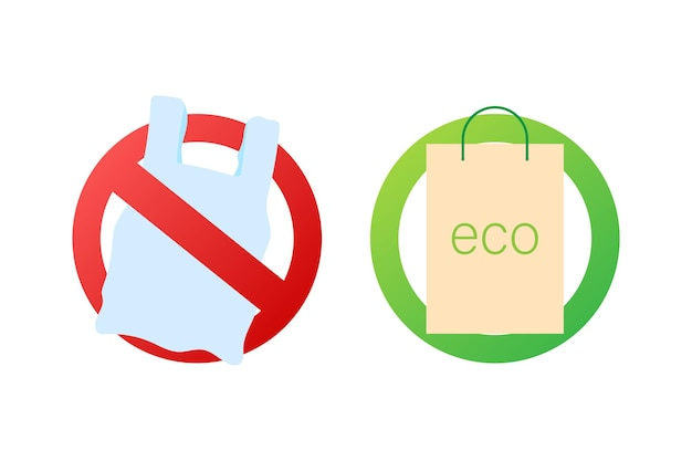 Dites non à l'affiche des sacs en plastique. la campagne pour réduire l'utilisation de sacs en plastique à mettre. illustration vectorielle