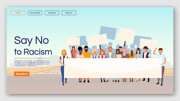 Dites non au modèle de page de destination sur le racisme. protestation contre les inégalités raciales et l'interface du site web de discrimination avec des illustrations plates. présentation de la page d'accueil, bannière web, concept de dessin animé de page web