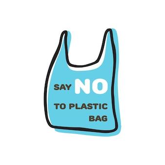 Dites non au panneau en plastique avec un sac en plastique et citez la conception de vecteur de griffonnage