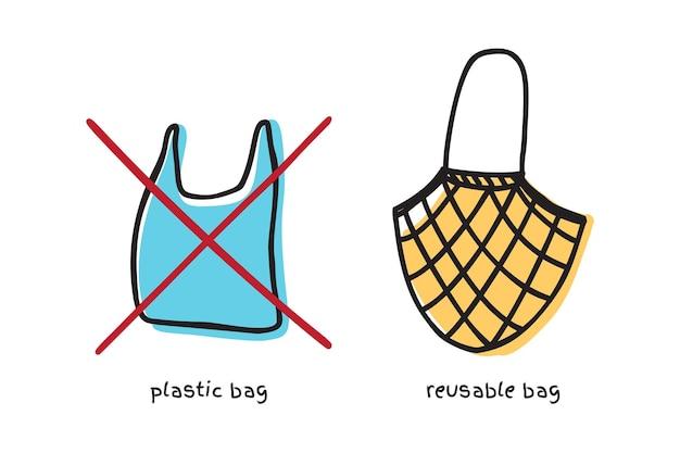 Dites non au panneau en plastique avec un sac en plastique et un sac en tissu en tissu doodle design vectoriel. concept zéro déchet