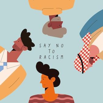 Dites non au racisme affiche avec quatre hommes