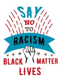 Dites non au racisme à la main dans une affiche fista contre le racisme appelant à la lutte contre la discrimination raciale