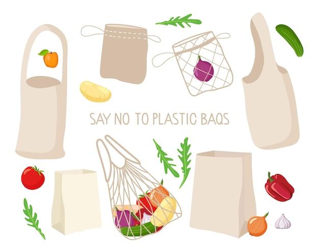 Dites non aux sacs en plastique ensemble de sacs écologiques différentes options de sacs papier à cordes en toile shoppers