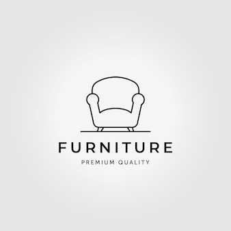 Divan minimaliste logo ligne art illustration conception vectorielle
