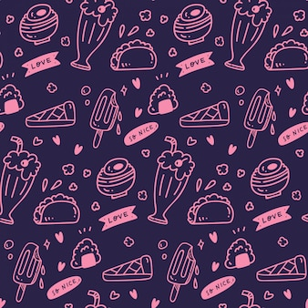 Divers aliments mignons et boissons seamless pattern