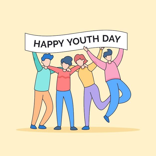 Divers amis étreignant célébrer heureux jeunesse amitié jour dessin animé doodle style illustration vectorielle