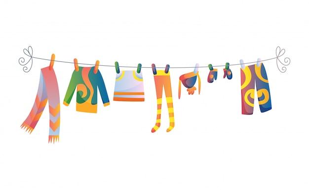 Divers articles de vêtements pour bébés sur corde isolé illustration vectorielle