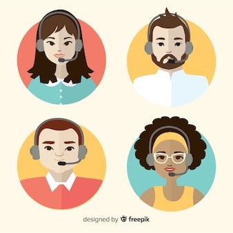 Divers avatars de centre d'appels au design plat