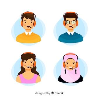 Divers avatars de centres d'appels en style plat