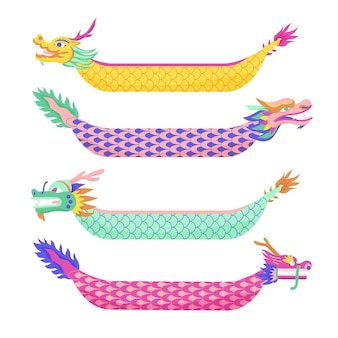Divers bateaux dragon collection dessinés à la main