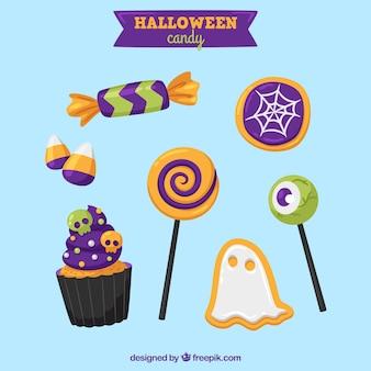 Divers bonbons et sucettes de halloween
