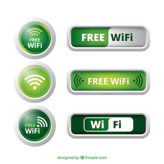 Divers boutons wifi en tons verts