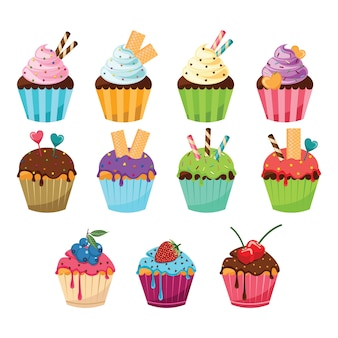 Divers cake cup cake sweet wafer garniture aux fruits