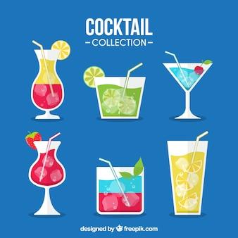 Divers cocktails tropicaux en design plat