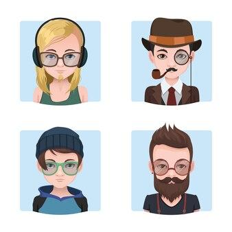 Divers collection de mecs hipster