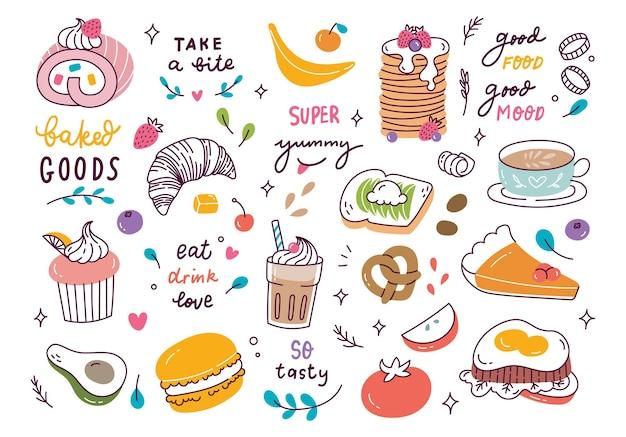 Divers doodle de nourriture et de boisson