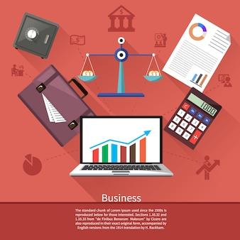 Divers éléments commerciaux tels que coffre-fort, balances avec pièces de monnaie, mallette, calculatrice et ordinateur portable avec graphique boursier