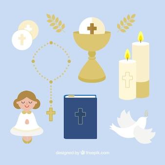 Divers éléments de communion en conception plate