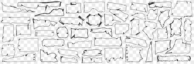 Divers ensemble de doodle de papier parchemin. collection de papier parchemin dessiné à la main avec des bords déchirés de différentes formes coupées en morceaux isolés.