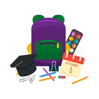 Divers ensemble de fournitures scolaires individuelles.