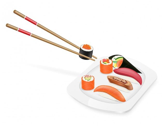Divers ensemble de sushis avec des baguettes sur une illustration vectorielle de plaque