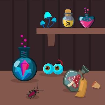 Divers ingrédients de potion sur table en bois marron