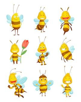 Divers insectes abeilles vartoon. caractère de l'illustration de la mouche heureuse. personnages mignons de moissonneuse de miel pour les enfants. animaux souriants.