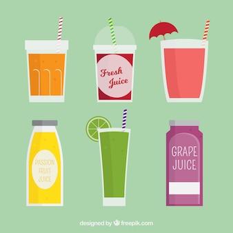 Divers jus de fruits avec différents récipients