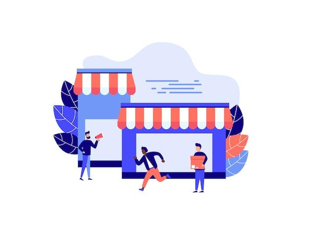 Divers magasins réduisent l'achat de biens et de cadeaux concept commercial d'investissement immobilier