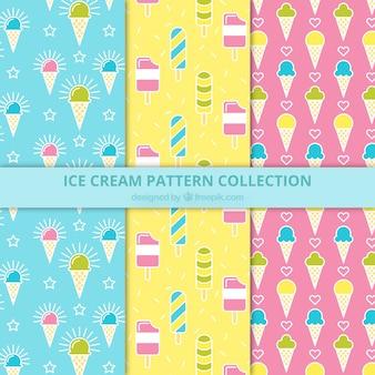 Divers motifs colorés avec des glaces plates