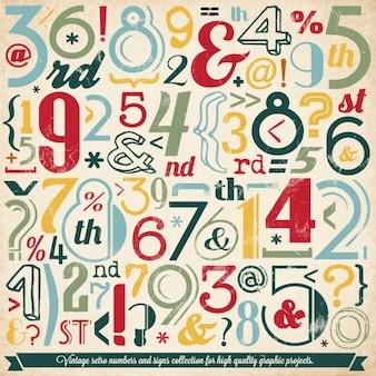 Divers numéro vintage et typographie collection