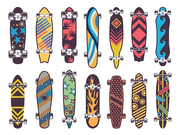Divers planches à roulettes colorées