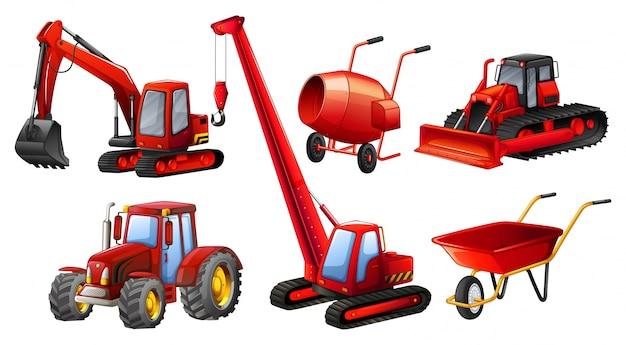 Divers types de tracteurs et équipements de construction