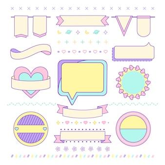 Divers vecteurs d'éléments de design mignons et girly