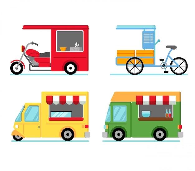 Divers véhicules utilisant des stands de nourriture dans la rue