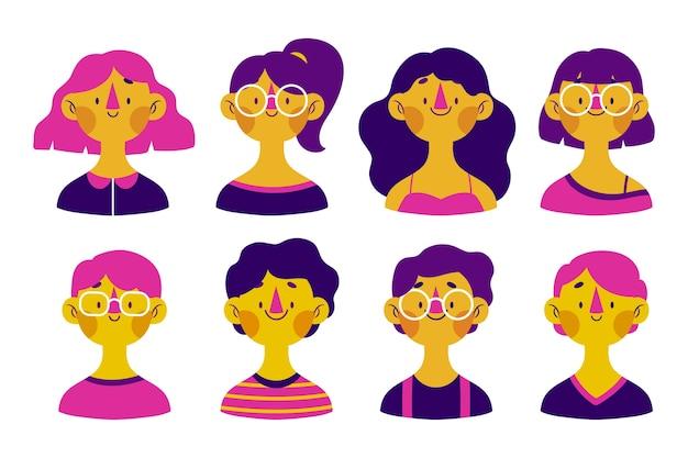 Divers visages, expressions heureuses avatars de personnes