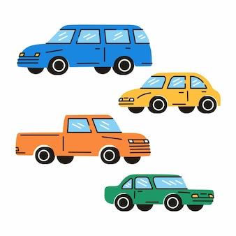 Divers voitures ou véhicules différents types de voitures