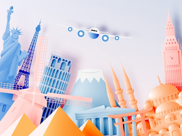 Diverses attractions touristiques dans le style de l'art du papier